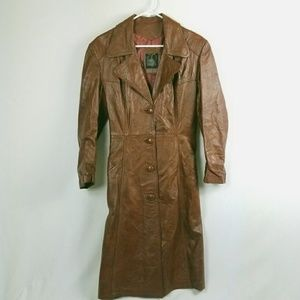 Vintage Leather Trench Jacket